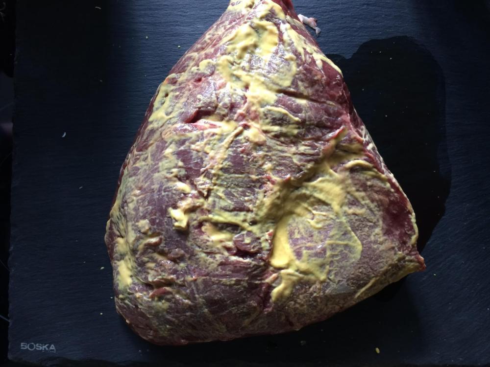 Picanha ingesmeerd met mosterd