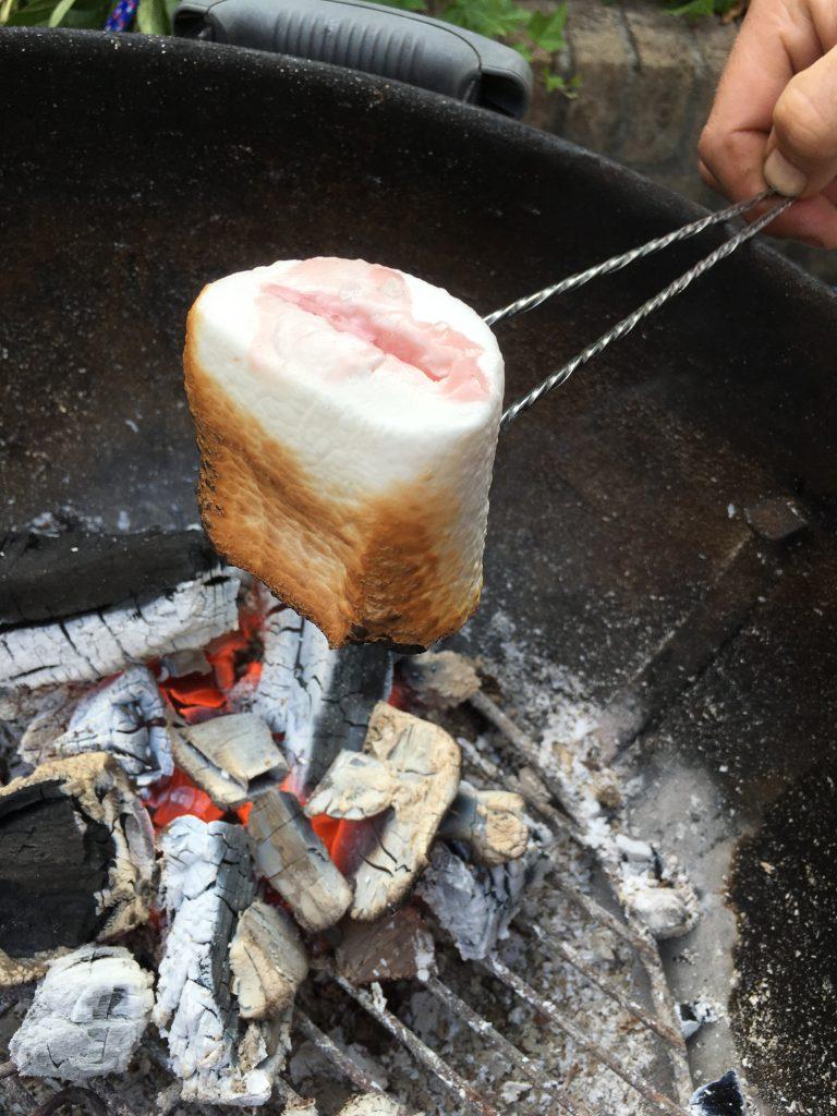 marshmallows gevuld met ijs op de barbecue