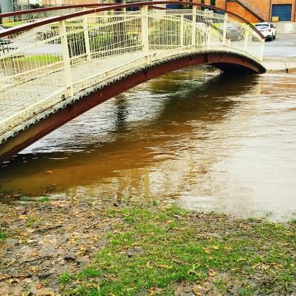 Flood waters under the bridge in Tumbarumba