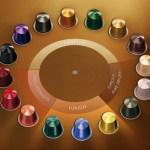 Imagem das capsulas de café nespresso, dispostas em forma circular. São 16 capsulas de cores diferentes, agrupadas por tipo de café: espresso, longo, descafeinado e de origem