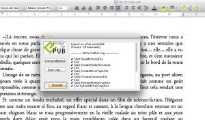 Le rapport de génération de votre fichier ePub par Writer2ePub
