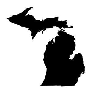 Michigan Map Iron-on Decal