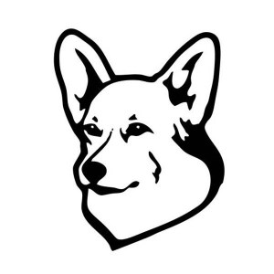 Corgi Head Iron-On Decal