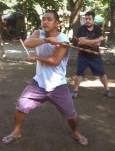 Practicing De Campo1-2-3 Original in the yard