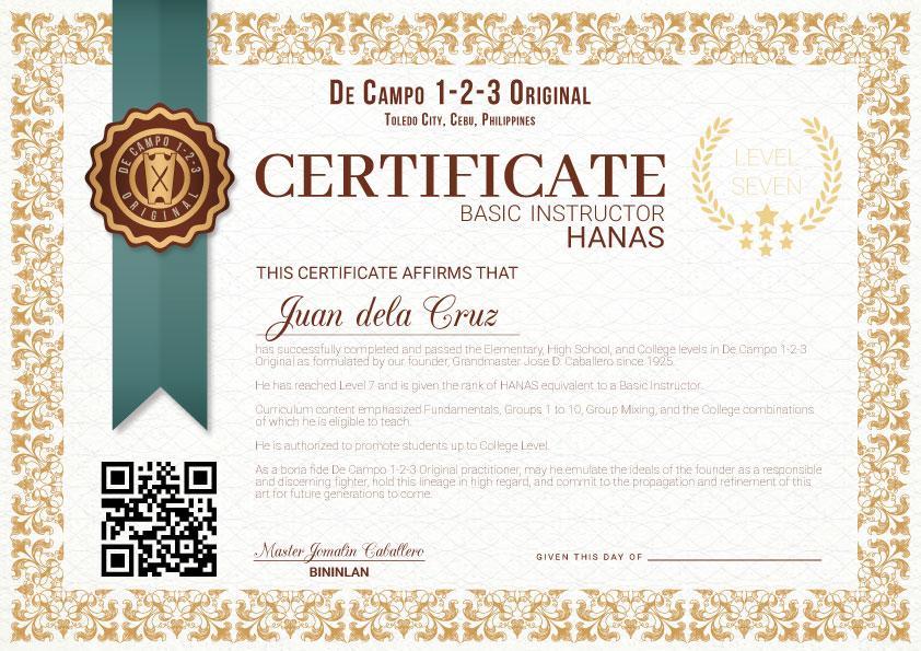 Certification De Campo 1 2 3 Original