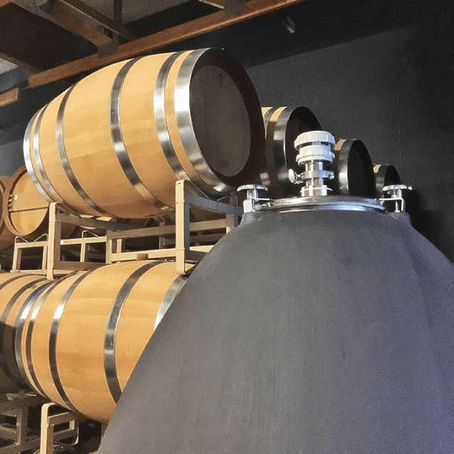 Barrage Cellars concrete egg and barrels