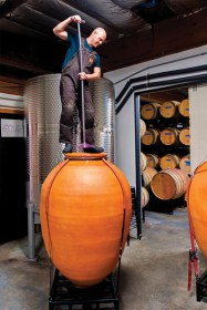 Javier Alfonso of Pomum Cellars and Idilico with clay amphora