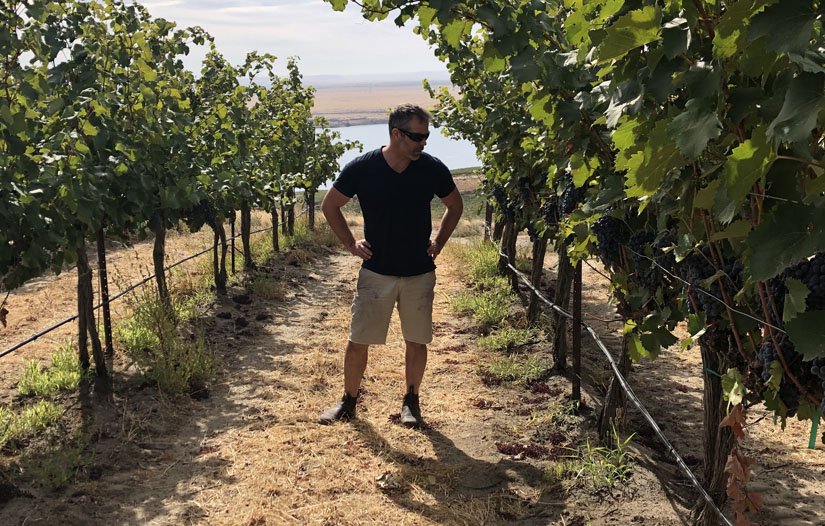 Peter Devison in the vineyard, Devsion Vintners