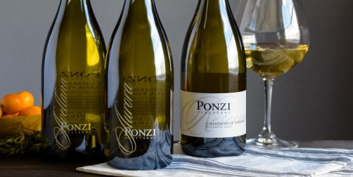 Ponzi Vineyards Chardonnay bottle line up