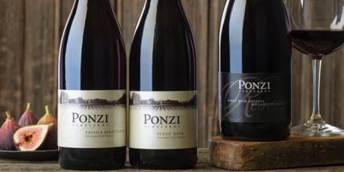 Ponzi Vineyards Pinot Noir bottle line up