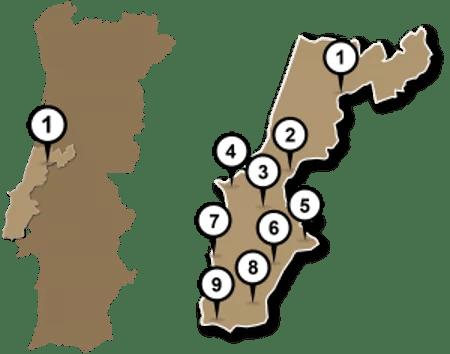mapa de vino de portugal