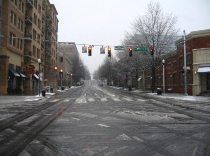 I took this pic after making a snow angel in the street...