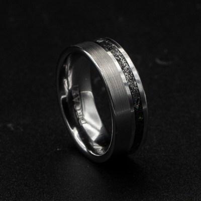 Single Offset Brushed Meteorite Ring | Tungsten Carbide Rings | Decazi