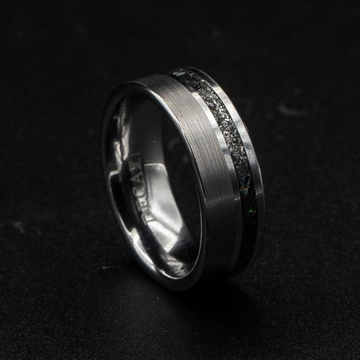 Single Offset Brushed Meteorite Ring | Tungsten Carbide Rings | Decazi