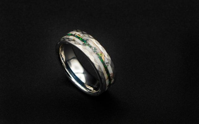 Glow in the dark ring with opal