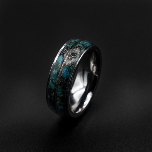 Meteorite Ring with Chrysocolla and White Gold | Decaz
