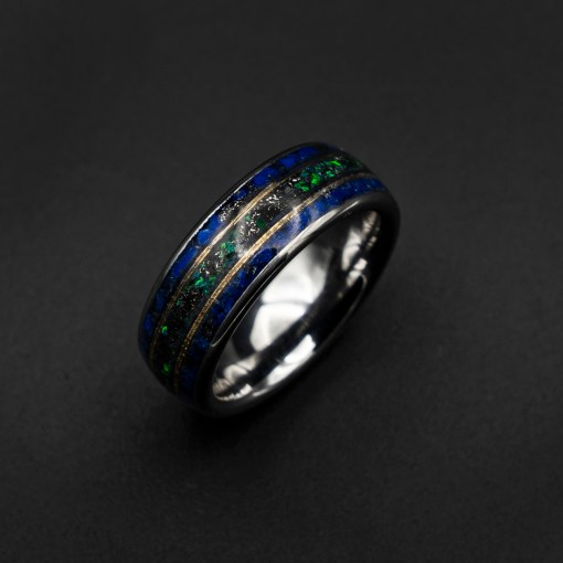 Meteorite Ring Men, Opal Ring, Lapis Lazuli Ring, Wedding Band | Decazi