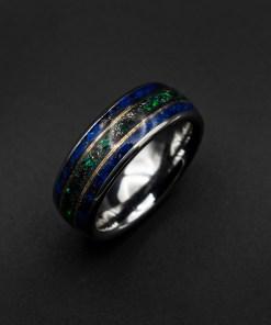 Meteorite Ring Men, Opal Ring, Lapis Lazuli Ring, Wedding Band | Decazi