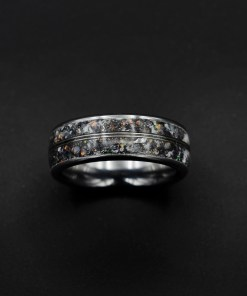 Tungsten Ring for Men with Meteorite and Platinum Wire | Decazi