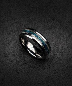 Glow in The Dark Tungsten Ring with Meteorite shavings and opal | Decazi