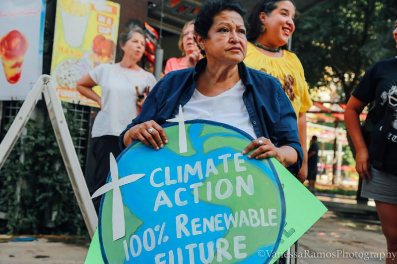 Mary Agnes Rodriguez represents at historic climate justice rally last summer during the city's mayor runoff election. Image: Vanessa Ramos
