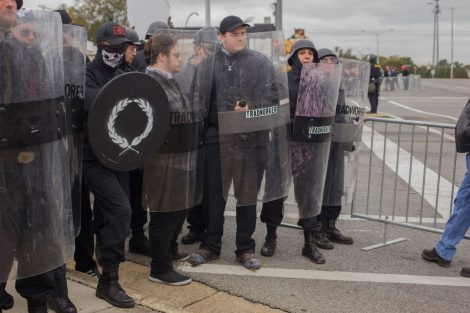 "White supremacists at a ""White Lives Matter"" rally in Shelbyville, Tenn., on Oct. 28, 2017. Vasillios Pistolis identified himself in an online chat as the man holding the black shield."