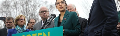 Rep. Alexandria Ocasio-Cortez (D-NY) and Sen. Edward Markey (D-MA) at a press conference introducing a resolution calling for a Green New Deal, February 7, 2019.