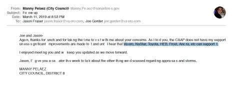 Peláez email to Valero Energy dated March 11, 2019.