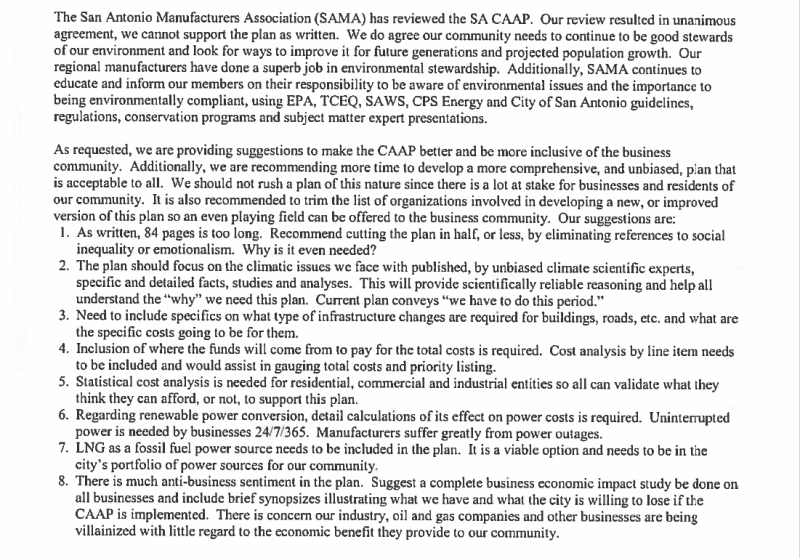 SA Manufacturers Assocation position on climate action in San Antonio.