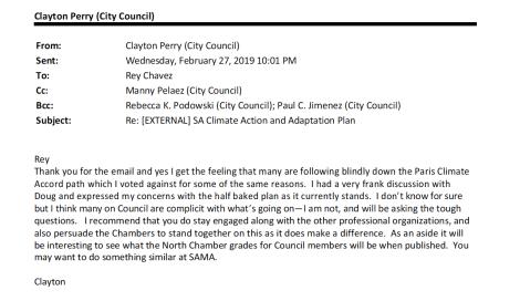 San Antonio Councilmember Clayton Perry email to Rey Chavez.