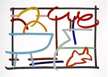 "Tom Wesselmann Fast Sketch Still Life with Goldfish, 1989 57"" x 79"" Silkscreen Unframed, good condition $16,000"