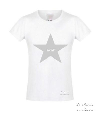 camiseta niña it girl estrella plateada www.decharcoencharco.com
