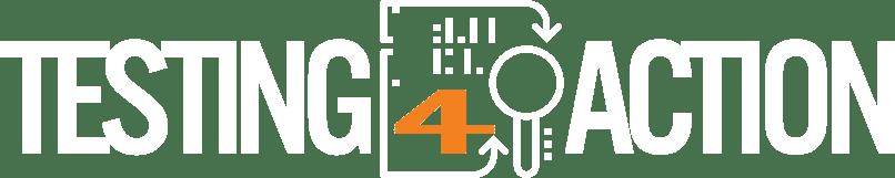 Logo horizontal de Testing4Action Blanc