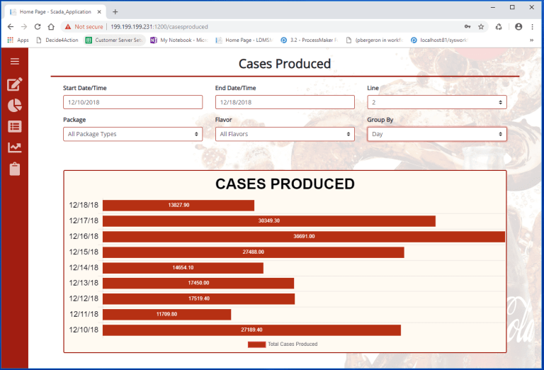 Cases produced screenshot