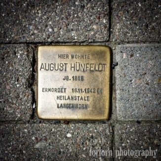 LIVED HERE / August Hunfeldt / Born 1868 / Murdered 16/11/1942 / in Sanitorium Langenhorn (Camera: Samsung Galaxy S4)