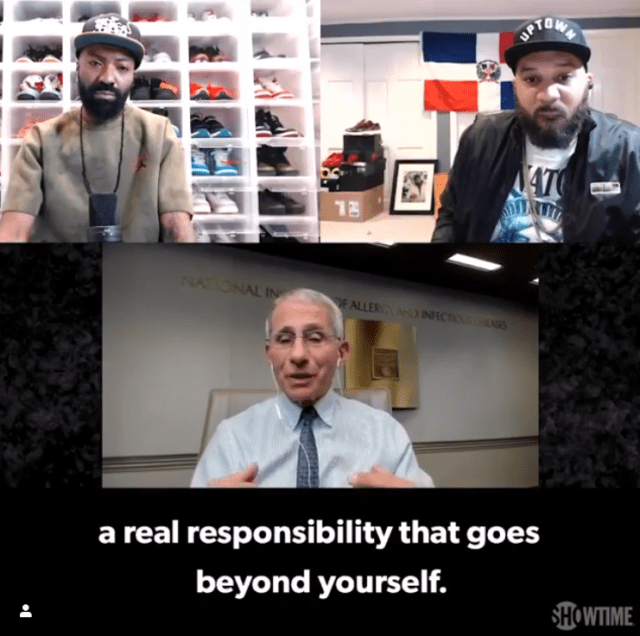 Dr Anthony Fauci on Desus and Mero Showtime TV, March 30, 2020