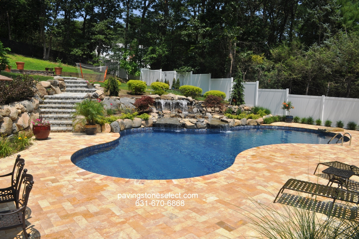 Free Formed Vinyl Swimming Pool Deck And Patio Natural