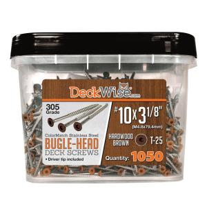 "DeckWise® Stainless Steel Bugle-Head Deck Screws #10x3-1/8""-1050pcs"