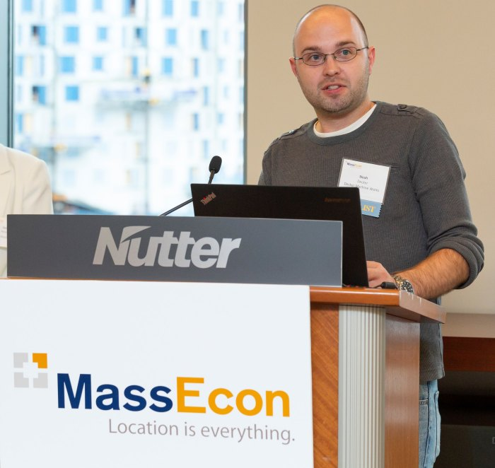 Decker Machine Works VP Noah Decker at the 2018 MassEcon Economic Impact Awards Finalists' Reception