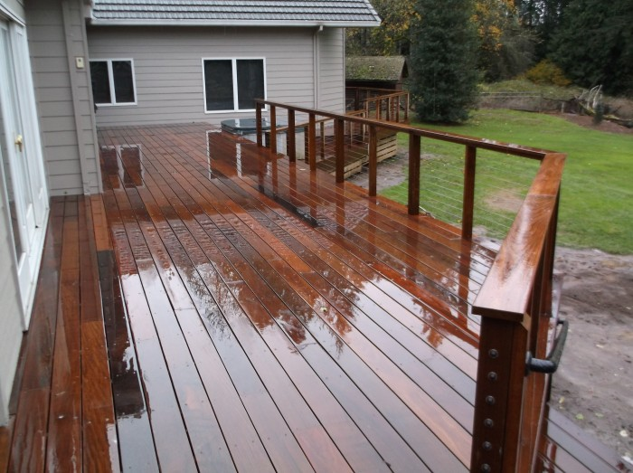 Ipe deck with stainless cable railing