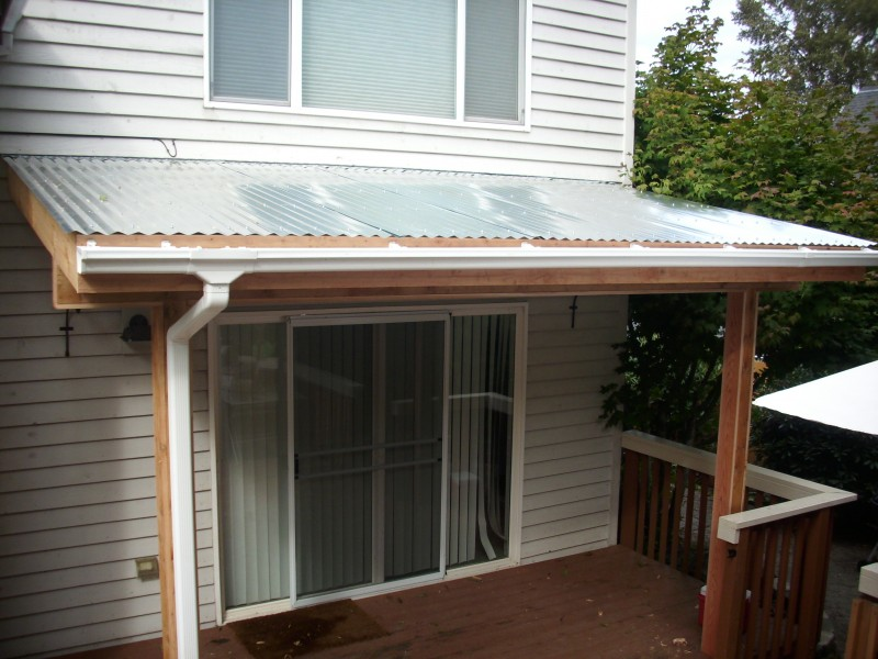 Corrugated patio cover deck masters llc portland or for Metal roof porch pictures