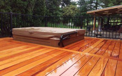 Fijian mahogany deck with hot tub