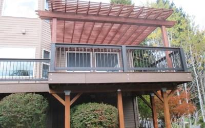 Timbertech composite deck with cedar pergola