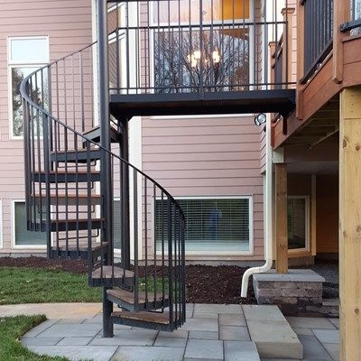 Deck With Spiral Stair Case Picture 6450 Decks Com   Outdoor Wooden Spiral Staircase   Kid Friendly   Residential   Circular   Beautiful   Rooftop Deck