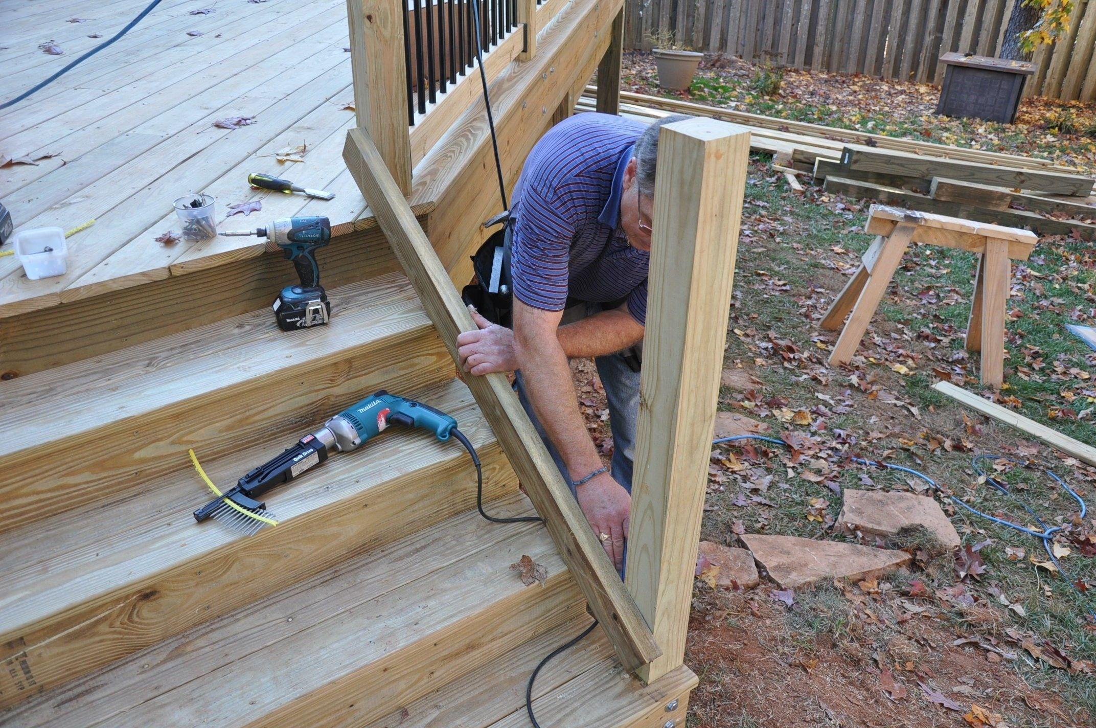 How To Install Deck Stair Railings Decks Com | Outside Stair Railing Installation | Rail | Simple | Staircase | Back Porch | Sunroom