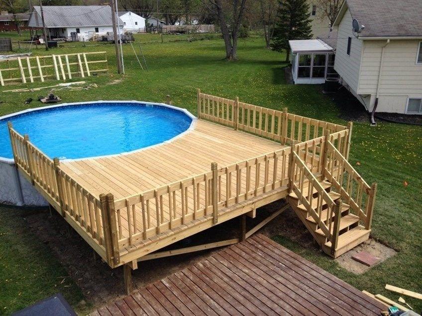 How To Build An Above Ground Pool Deck Decks Com | Building Half Round Wood Steps | Curved | Precast Concrete Steps | Outdoor | Concrete Slab | Risers