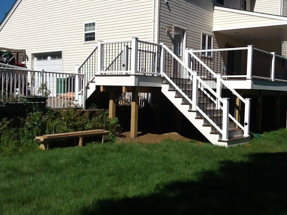 Second Story Deck Ideas Designs Pictures Decks Com | Two Story Deck Stair Designs | Building | Modern | House | Decking | Split Level