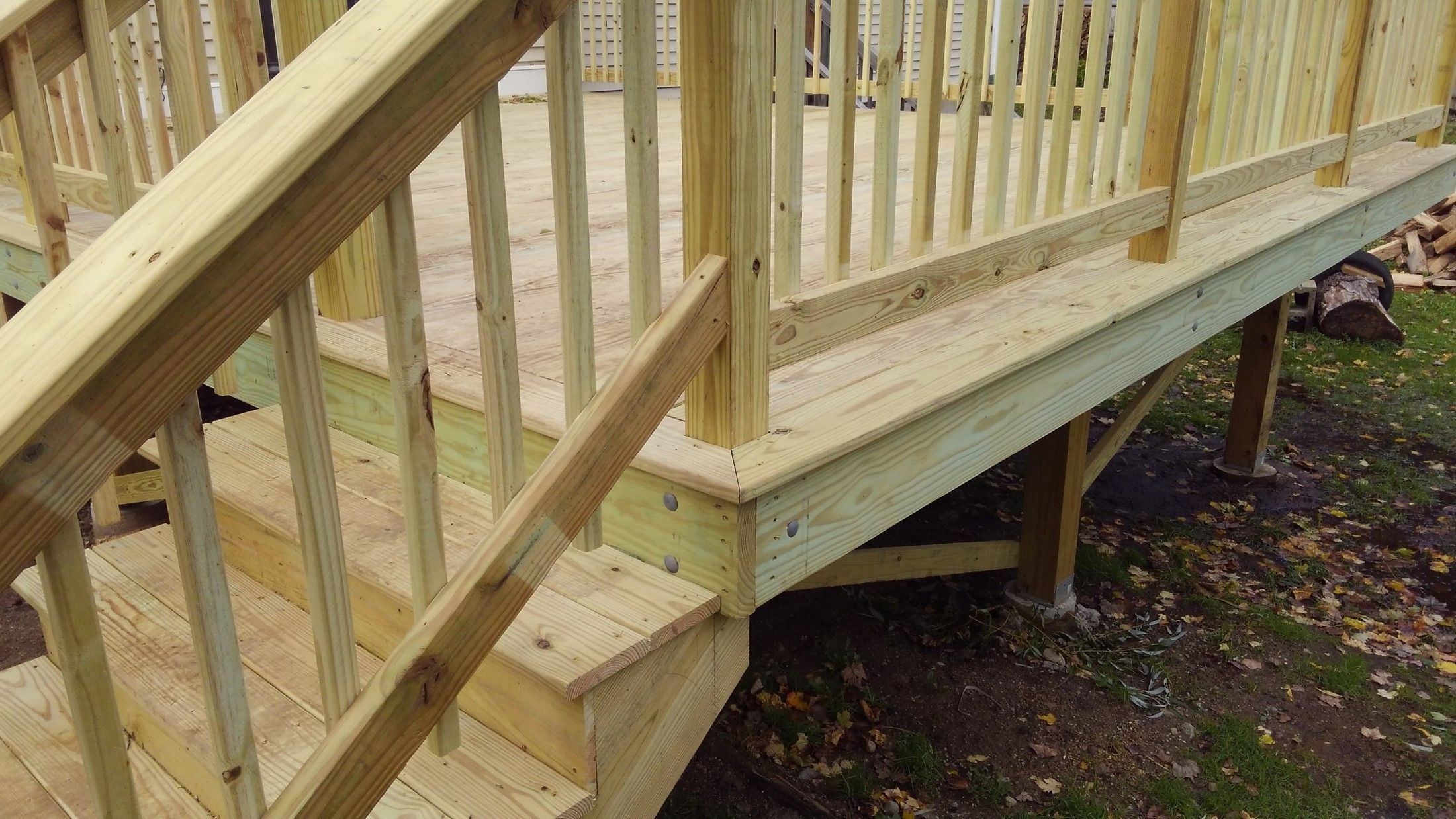 New Pressure Treated Deck Picture 7694 Decks Com | Pressure Treated Deck Stairs | Flared | 5 Foot | Landing | Pre Built | Simple