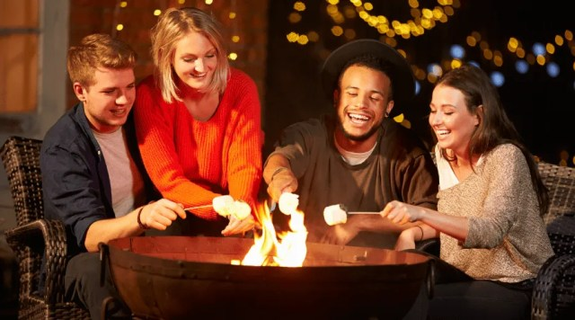 Enjoying a fire pit with friends
