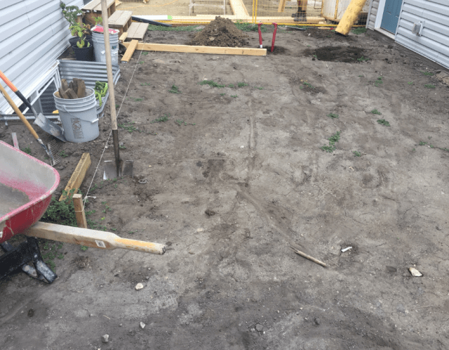 Preparing the area for a floating deck